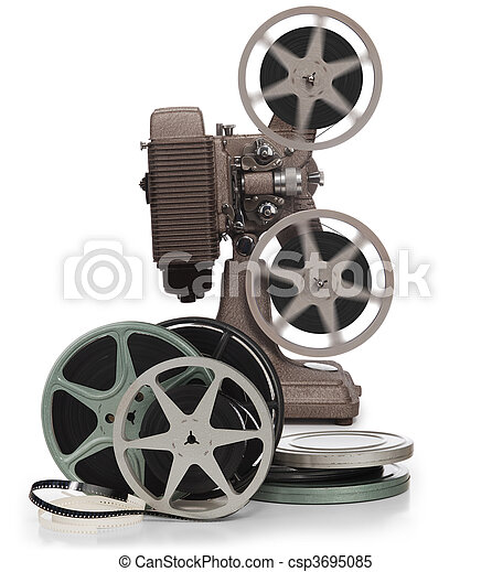 Movie film reels and projector on white - csp3695085