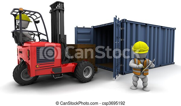 man in forklift truck loading a container - csp3695192