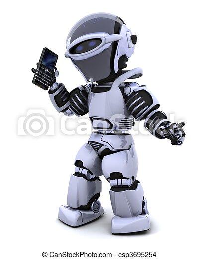 robot with smart phoine - csp3695254