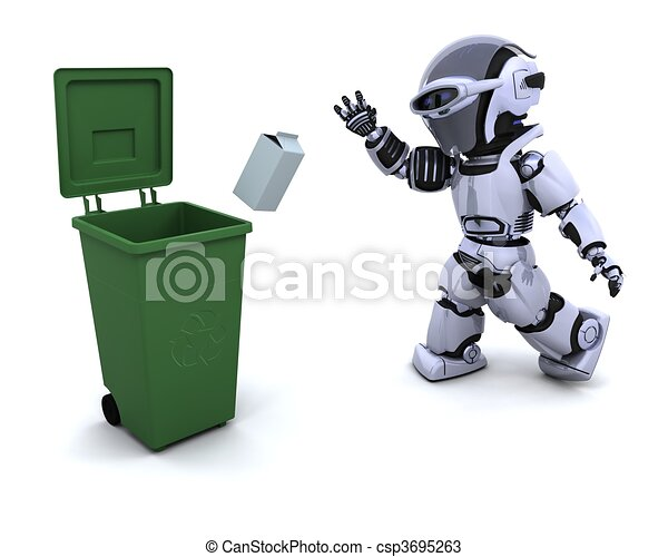 robot with trash - csp3695263