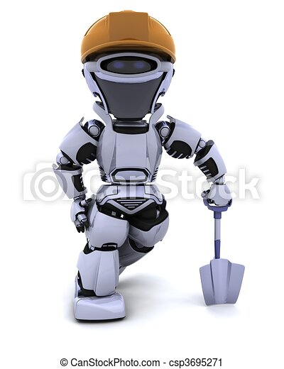 construction robot with spade - csp3695271