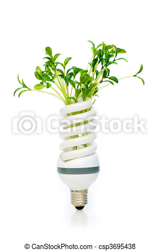 Energy saving lamp with green seedling on white - csp3695438