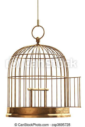 Nyílik, kalitka, madár - csp3695728