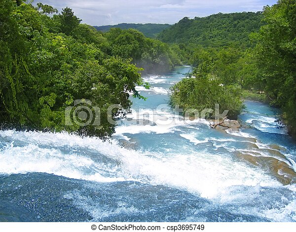Agua Azul waterfalls blue water river in Mexico - csp3695749