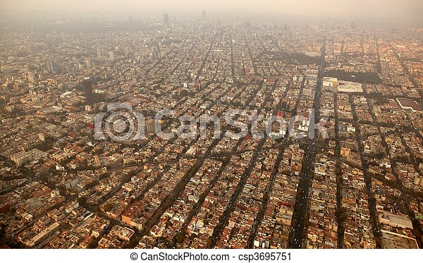 mexico df city town aerial view from airplane - csp3695751