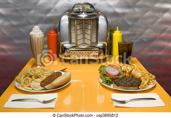 1950s style diner table with