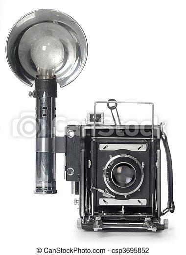 främre del, blixtra, kamera,  retro, synhåll - csp3695852