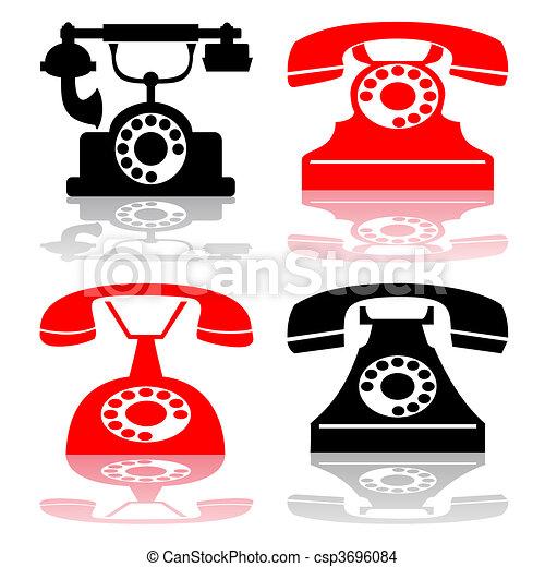 Vector antique telephone collection - csp3696084