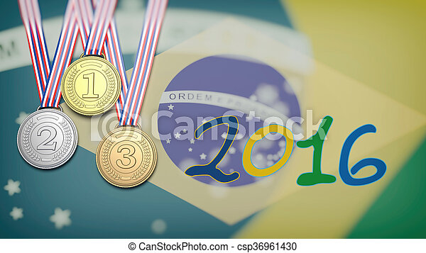Medals against of Brazil flag and 2016 year - csp36961430