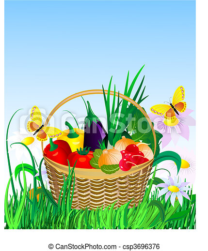 vegetables in a basket on the lawn - csp3696376