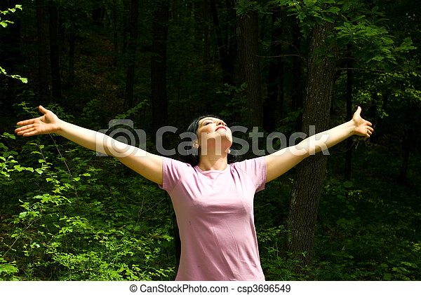Breathing the fresh air from a spring forest - csp3696549