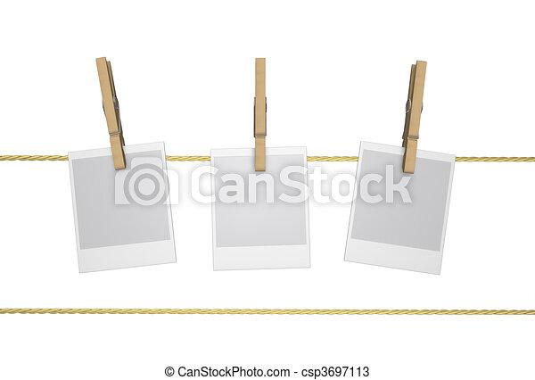 Peg - Wood Clothespin and Polaroid, - csp3697113