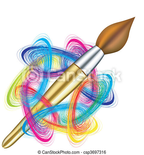 Vector artist\'s palette and brush - csp3697316