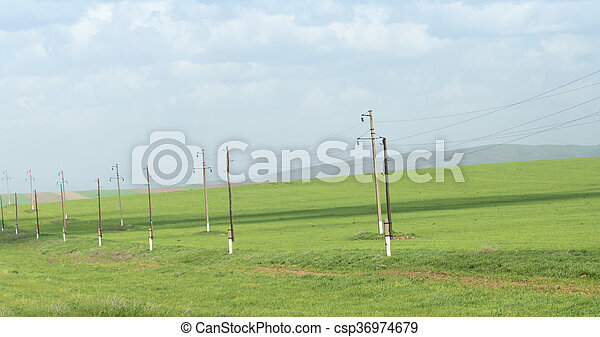 power poles in nature - csp36974679