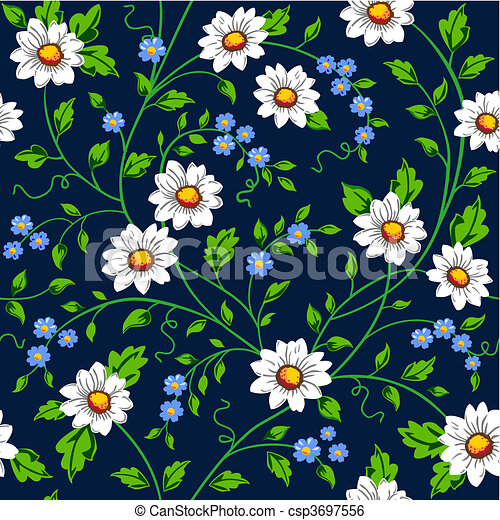 Vector daisy seamless background - csp3697556