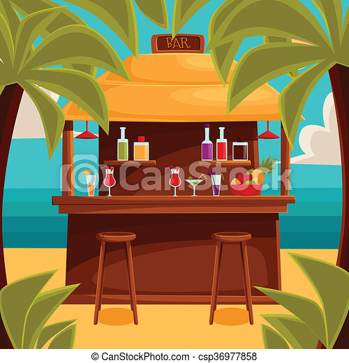 Stock Illustrations Of Summer Bar Beach Cafe With Palm