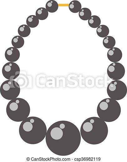 Black pearl necklace bead vector illustration. - csp36982119
