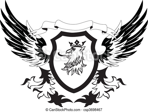 Grunge retro shield with griffon  - csp3698467
