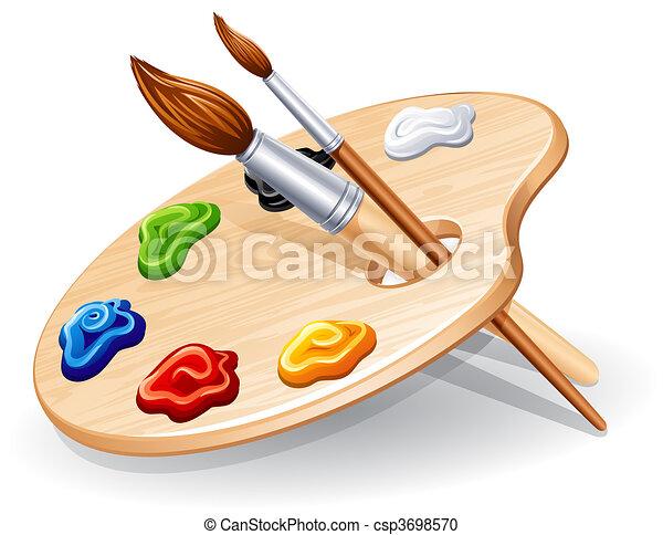 Vector clip art de paleta de madera paleta con - Paleta de pinturas ...