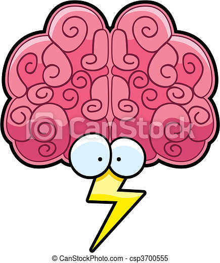 Clipart Vector of Brain Storm - A cartoon brain with eyes and a ...