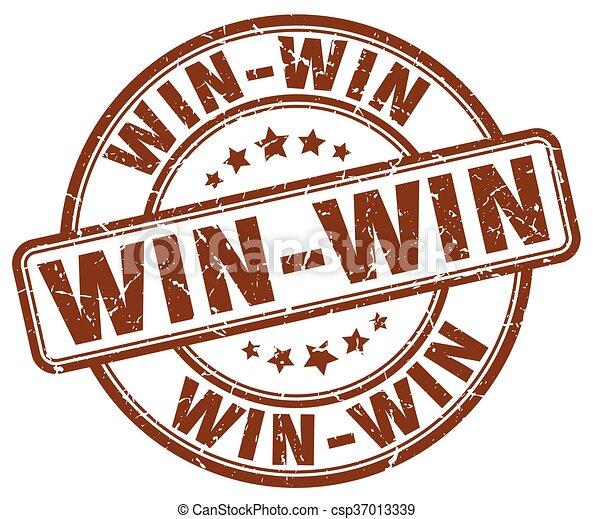 win-win brown grunge round vintage rubber stamp - csp37013339