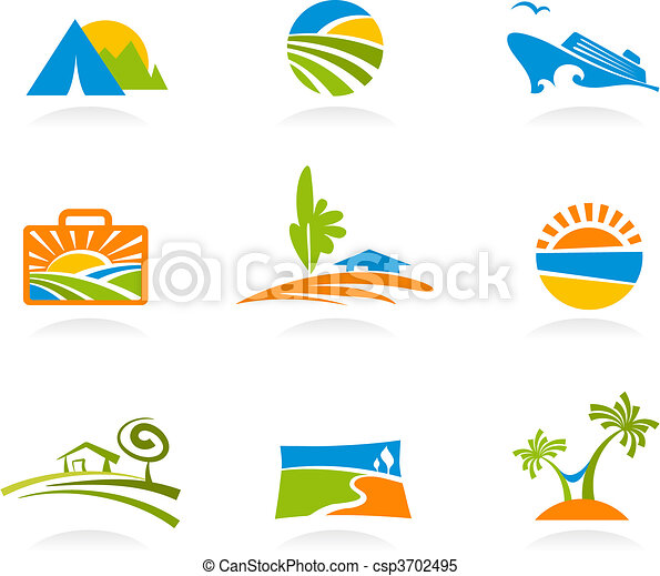 Tourism and vacation icons and logos - csp3702495