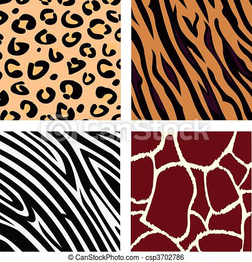 Tiger, zebra, leopard, giraffe skin - csp3702786