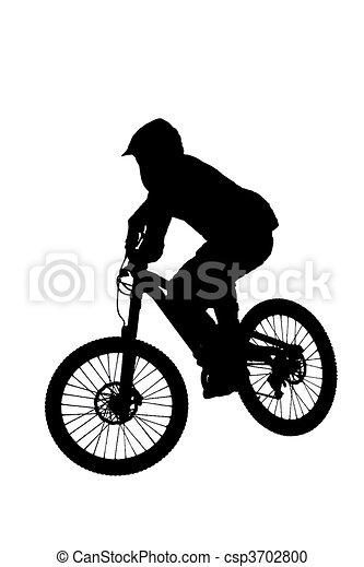 mountain biker silhouette - csp3702800