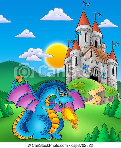 Big blue dragon with medieval castle - csp3702822