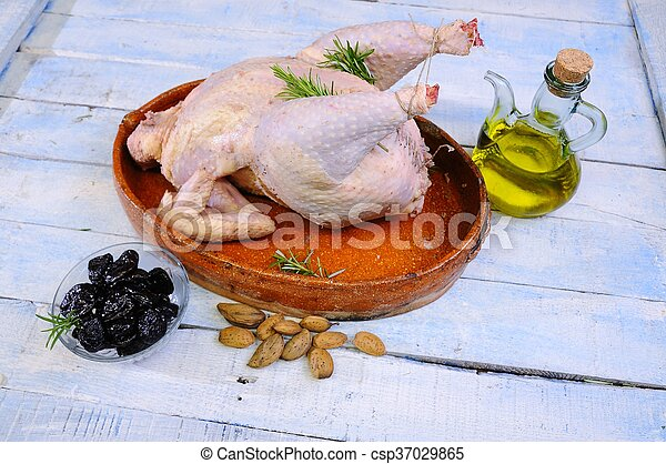 Whole chicken on plate - csp37029865