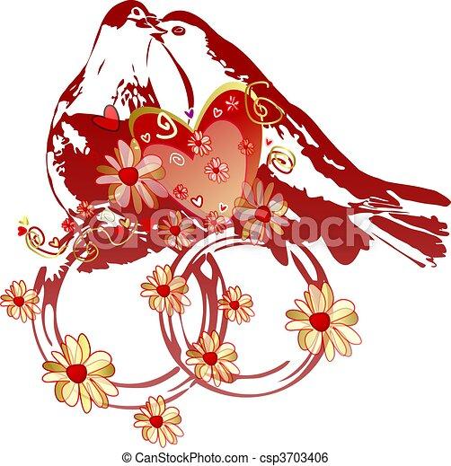 Baisers, Paire, de, Pigeons, sur, mariage, Anneaux, à, couleurs, et ...
