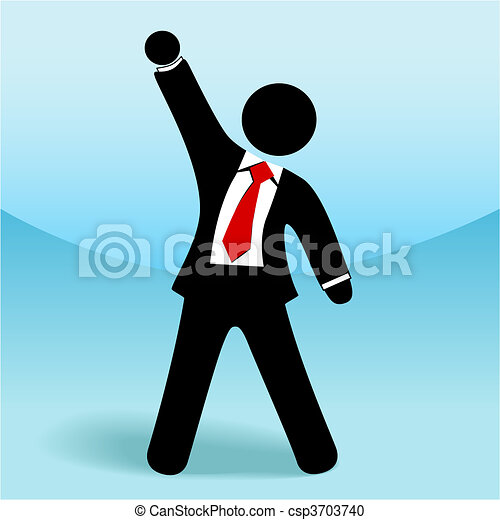 Business man stick figure arm fist up success - csp3703740