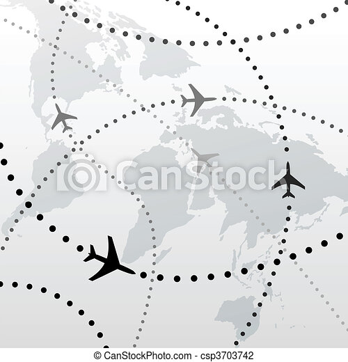 World airplane flight travel plans connections - csp3703742