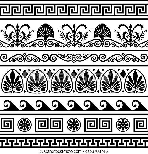 Set of vector antique greek borders - csp3703745