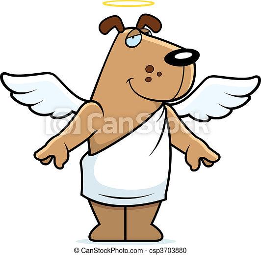 Vector Clip Art de Ángel, perro - Un, feliz, caricatura, Ángel ...
