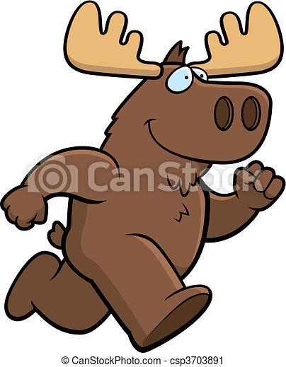 Moose Running - csp3703891