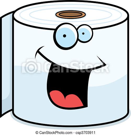 Toilet Paper Smiling - csp3703911