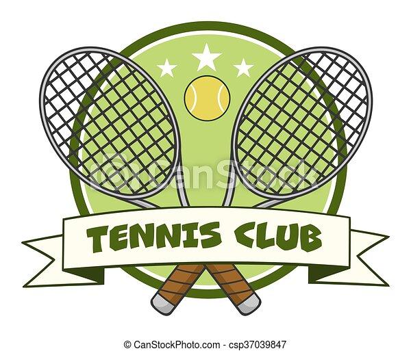 Vecteur eps de raquette tennis balle travers logo - Dessin raquette ...