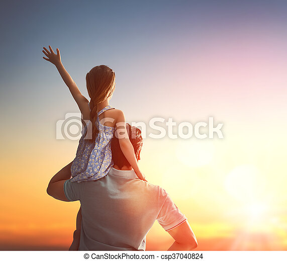 Happy loving family. Father and his daughter child girl playing and hugging outdoors. Cute little girl and daddy. Concept of Father\'s day.