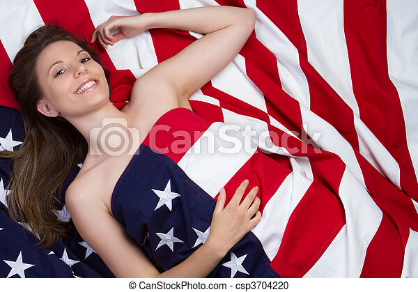 Beautiful smiling american flag girl
