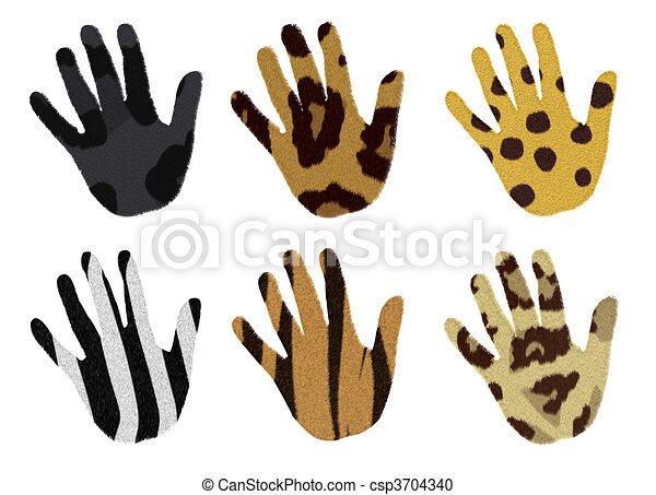 hands with animal fur - csp3704340