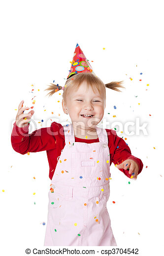 happy little girl with confetti - csp3704542