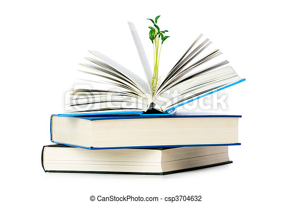 Knowledge concept with books and seedlings - csp3704632
