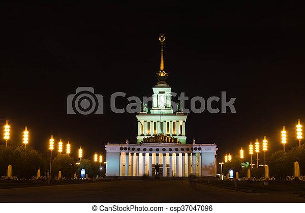 建物, 歴史的, 美しい, 夜 - csp37047096