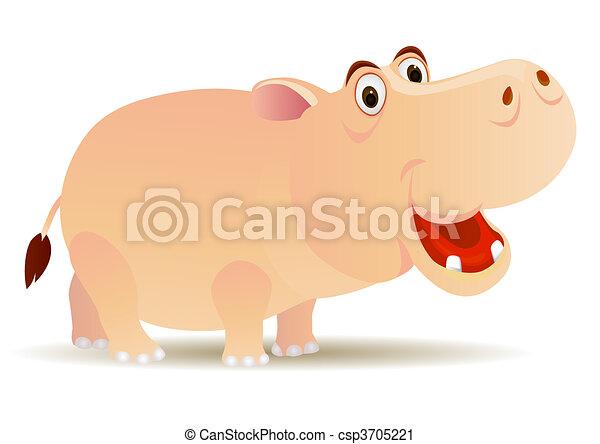 Hippo cartoon - csp3705221