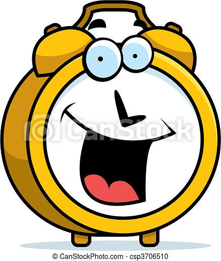 Clipart Vecteur de reveil, Sourire, horloge - a, dessin animé, reveil ...