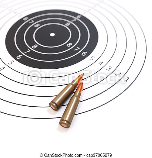 Shooting range and target concept isolated on white 3d illustration