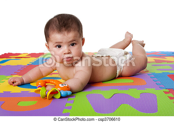 Cute baby laying on belly - csp3706610