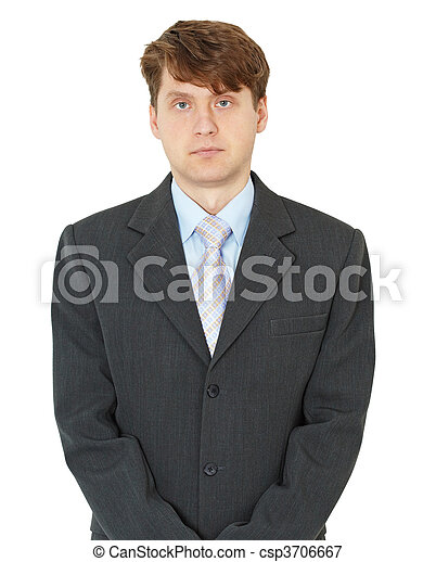 Portrait of ordinary young man on white background - csp3706667