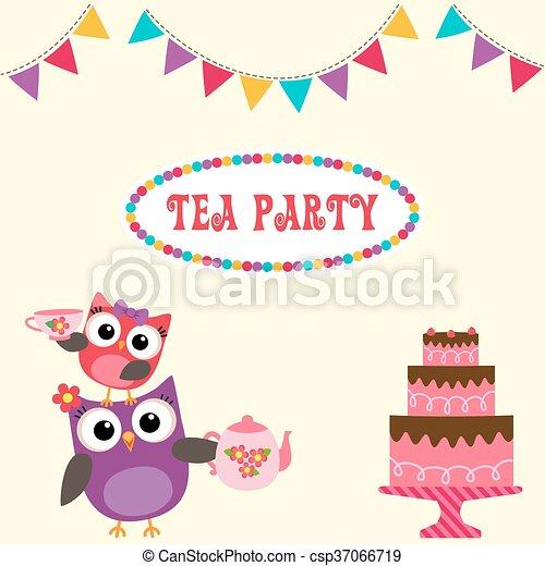 vektor clipart von reizend, eulen, party, einladung, tee - tea, Einladung